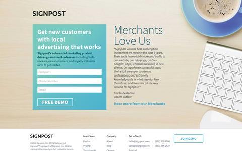 Screenshot of Landing Page signpost.com - Signpost Local Advertising Tools - captured Sept. 9, 2016