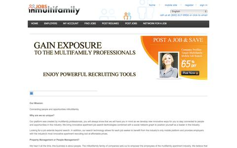 Screenshot of About Page jobsinmultifamily.com - About Jobs in Multifamily - captured Sept. 30, 2014
