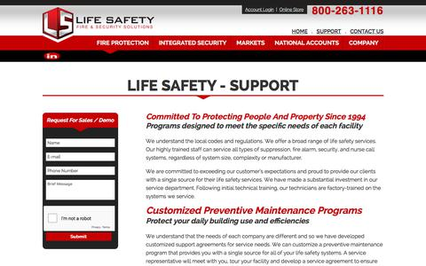 Screenshot of Support Page lifesafetysecurity.com - Life Safety - Support - captured Dec. 15, 2019