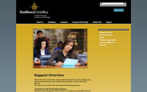 Screenshot of Support Page dbcr.org - Don Bosco Cristo Rey High School - captured Oct. 5, 2014
