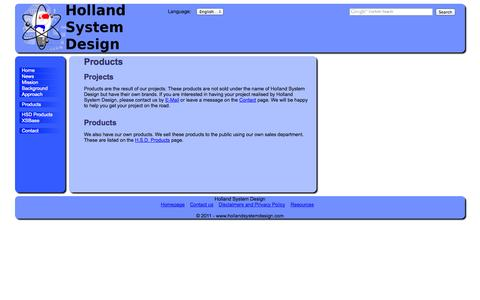 Screenshot of Products Page hollandsystemdesign.com - Holland System Design - Projects and Products - captured Oct. 2, 2014