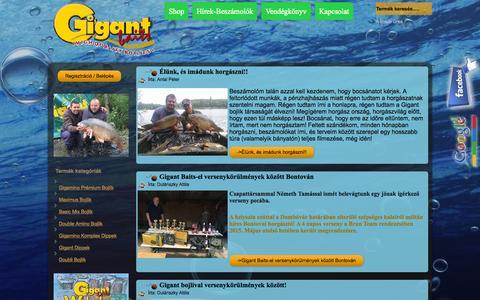 Screenshot of Home Page bojli.hu - GigantBaits Bojli-Dip-Pellet-Alapmix-Bojli alapanyagok - captured Oct. 12, 2015