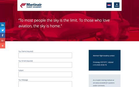 Screenshot of Contact Page martinairflightacademy.nl - Contact - captured July 21, 2016