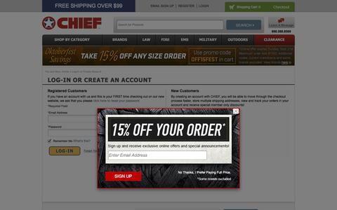 Screenshot of Login Page chiefsupply.com - Customer Login - captured Sept. 23, 2014