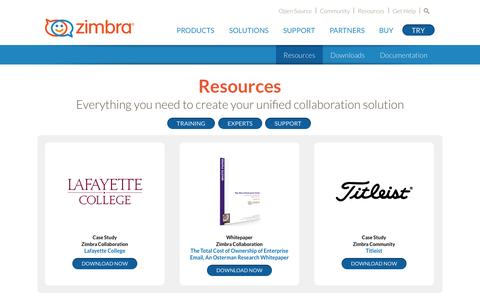 Screenshot of Case Studies Page zimbra.com - Zimbra - Resources - captured Oct. 28, 2014