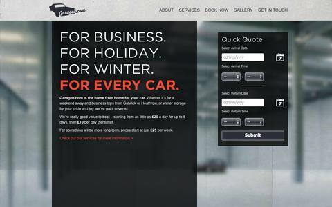 Screenshot of Home Page garaged.com - Home | Welcome to Garaged.comWelcome to Garaged.com - captured Oct. 2, 2014