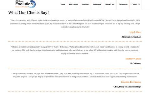 Screenshot of Testimonials Page offshoreevolution.com - Testimonial – Offshore Evolution Pvt Ltd - captured Dec. 20, 2018