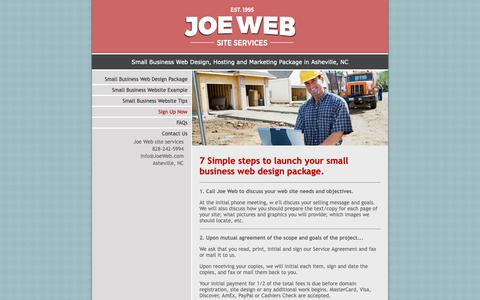 Screenshot of Signup Page joeinfo.com - Contact Joe Web for your Small Business Web Design Package - captured Dec. 4, 2018