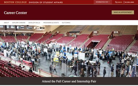 Screenshot of Jobs Page bc.edu - Career Center - Division of Student Affairs - Boston College - captured Aug. 17, 2019