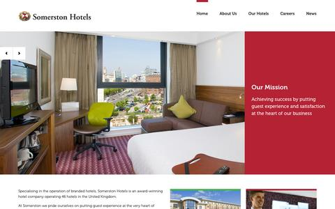 Screenshot of Home Page somerstonhotels.co.uk - Official Site - Book Online Now at Somerston Hotels - captured Oct. 9, 2014