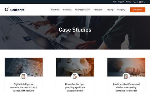 Screenshot of Case Studies Page cellebrite.com - Case Studies - Cellebrite - captured June 28, 2019