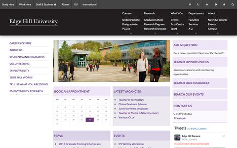 Screenshot of Jobs Page edgehill.ac.uk - Careers Centre - Careers Centre - captured Oct. 25, 2016