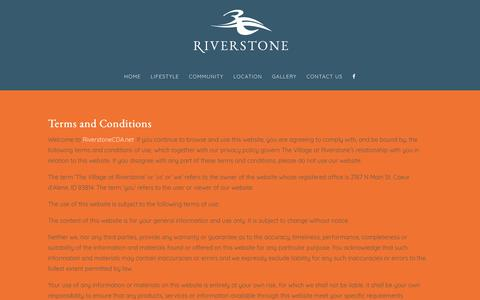 Screenshot of Terms Page riverstonecda.net - Terms And Conditions - Village At Riverstone - captured Sept. 21, 2018