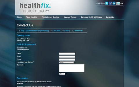 Screenshot of Contact Page Maps & Directions Page healthfixphysiotherapy.com.au - Contact Us - captured Sept. 29, 2014