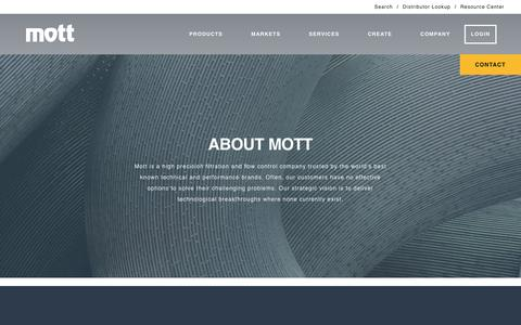Screenshot of About Page mottcorp.com - Filtration & Flow Control Company | Porous Metal Products - Mott - captured Dec. 22, 2016