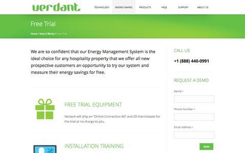 Screenshot of Trial Page verdant.info - Free Trial | Verdant Environmental Technologies - captured Oct. 9, 2014