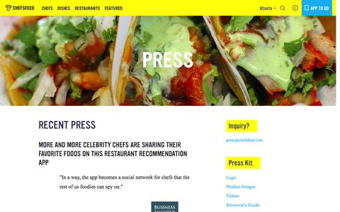 Screenshot of Press Page chefsfeed.com - Press | ChefsFeed - captured Nov. 18, 2015