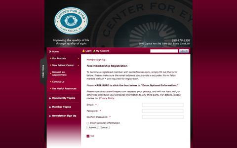 Screenshot of Signup Page centerforeyes.com - James L. Keller, MD - Center For Eyes - Ophthalmologist In Battle Creek, MI USA :: Member Sign-Up - captured Sept. 29, 2014