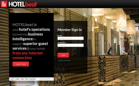 Screenshot of Home Page hotelbeat.com - HOTELbeat - The Pulse of Your Hotel - captured July 11, 2014
