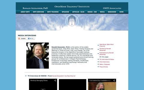 Screenshot of Press Page ronaldalexander.com - Dr. Ronald Alexander - Media Interviews - captured Nov. 4, 2014