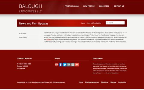Screenshot of Press Page balough.com - News and Firm Updates – Balough Law Offices - captured Nov. 13, 2018