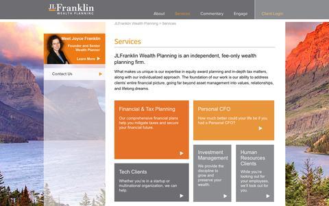 Screenshot of Services Page jlfwealth.com - Services - JLFranklin Wealth Planning - captured Oct. 1, 2018