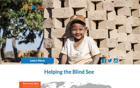 Screenshot of Landing Page helpmesee.org - Helping the Blind See - captured May 26, 2018
