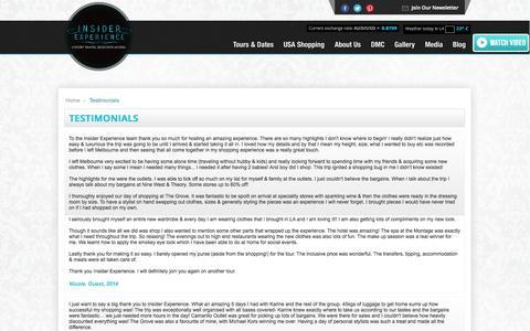Screenshot of Testimonials Page insiderexperience.com - Testimonials   Insider Experience - captured Sept. 30, 2014