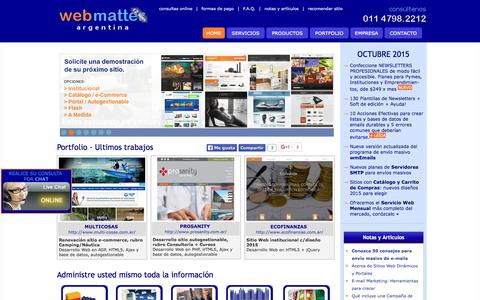 Screenshot of Home Page web-matter.com.ar - Web Matter Argentina :: Desarrollo Web, E-mail Marketing, Posicionamiento, Programacion PHP y ASP, Diseńo Web, E-commerce, Portales - captured Oct. 19, 2015
