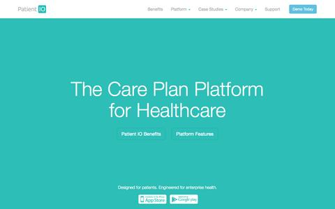 Screenshot of Home Page patientio.com - Patient IO by Filament Labs - captured Sept. 16, 2014