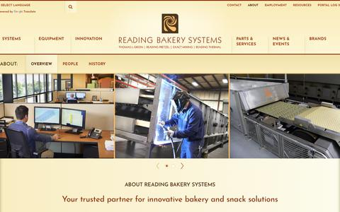 Screenshot of About Page readingbakery.com - Overview - Reading Bakery Systems - captured Oct. 19, 2018