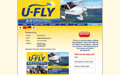 Screenshot of Contact Page u-flywanaka.co.nz - Contact U-Fly - captured Oct. 3, 2014