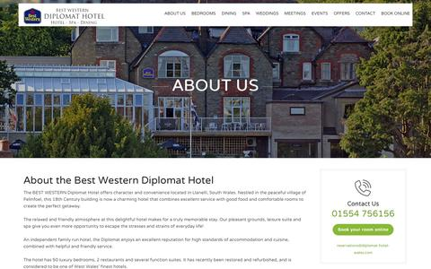 Screenshot of About Page diplomat-hotel-wales.com - Llanelli hotels | Hotels near Llanelli | Best Western Diplomat Hotel - captured March 11, 2016