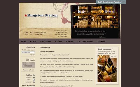 Screenshot of Testimonials Page kingstonstation.com - Testimonials | Kingston Station Restaurant - captured Sept. 30, 2014
