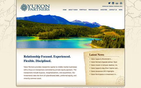 Screenshot of Home Page yukonpartners.com - Experienced Mezzanine for the Middle Market - Yukon Partners - captured Oct. 9, 2014
