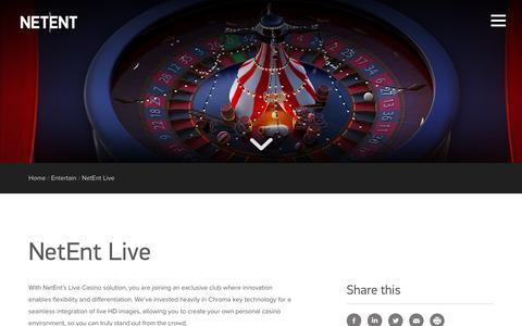 Screenshot of netent.com - NetEnt Live | NetEnt | Better Gaming - captured Aug. 22, 2016