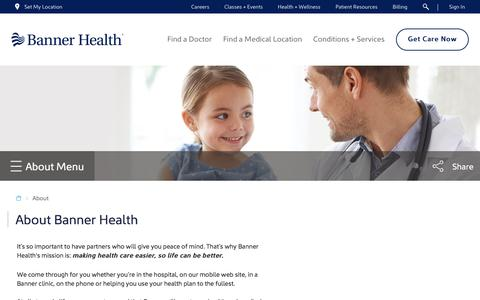 Screenshot of About Page bannerhealth.com - About - captured April 15, 2018