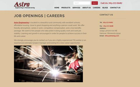 Screenshot of Jobs Page astroeng.com - Job Openings | Careers | Astro Engineering & Manufacturing Inc. - captured Oct. 4, 2018