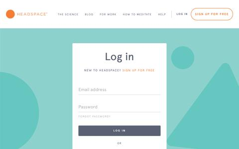 Screenshot of Login Page headspace.com captured Oct. 5, 2018