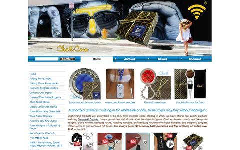 Screenshot of Home Page chatt.com - Wholesale Purse Hook, Holder, Hanger, Handbag, Magnetic Eyeglass Holder, Bottle Stop, Swarovski - captured Oct. 2, 2014