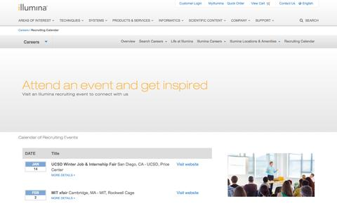 Screenshot of illumina.com - Illumina Recruiting | Events calendar - captured March 19, 2016