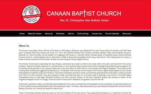 Screenshot of About Page canaanbc.org - About Us - captured Oct. 18, 2016
