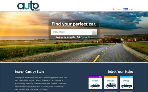 Screenshot of Home Page auto.com - Used Cars and New Cars | Browse Cars For Sale by City - Auto.com - captured Sept. 18, 2014