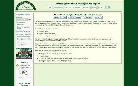 Screenshot of About Page burlingtonchamberofcommerce.org - About the Burlington Area Chamber of Commerce - captured Oct. 5, 2014