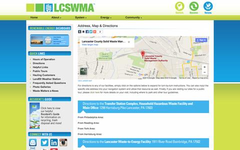 Screenshot of Maps & Directions Page lcswma.org - Lancaster County Solid Waste Management Authority | Map & Directions - captured Dec. 5, 2015