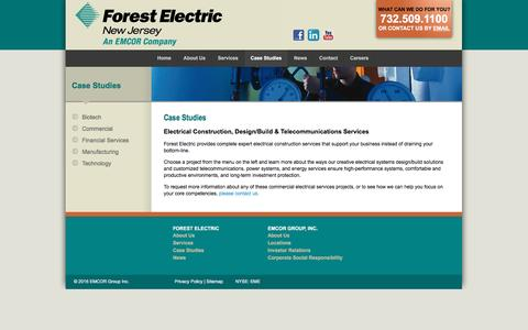 Screenshot of Case Studies Page forestnj.com - Electrical Engineering Services & Design Build | Forest Electric - captured March 6, 2016