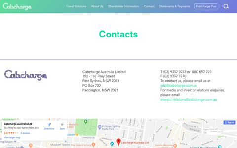 Screenshot of Contact Page cabcharge.com.au - Cabcharge - Taxi cab charge card providers - captured July 15, 2018