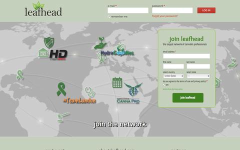 Screenshot of Home Page leafhead.com - largest network of cannabis professionals | leafhead.com - captured March 6, 2016