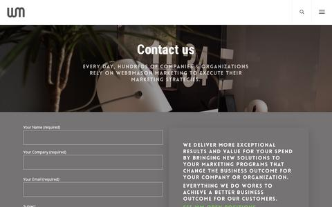Screenshot of Contact Page webbmason.com - Contact – WebbMason Marketing - captured Sept. 20, 2018