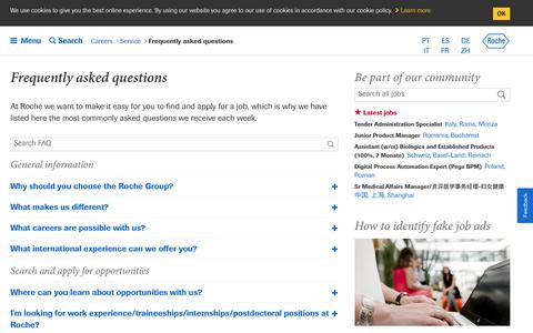 Screenshot of FAQ Page roche.com - Roche - Frequently asked questions - captured March 20, 2019